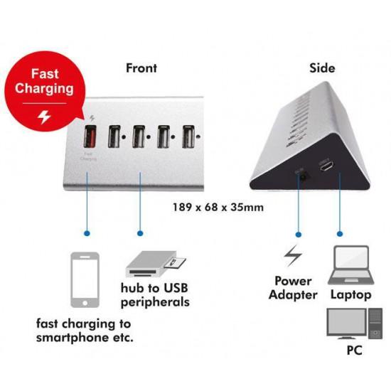 Hub USB2 da 11 Porte in Alluminio con Ricarica Veloce