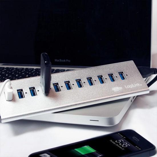 Hub USB3.0 con 11 Porte in Alluminio più porta per Ricarica Veloce