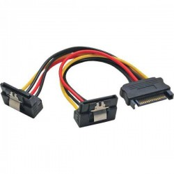 Power supply cable to split the Serial Ata power supply from one to two doors with 90° plugs