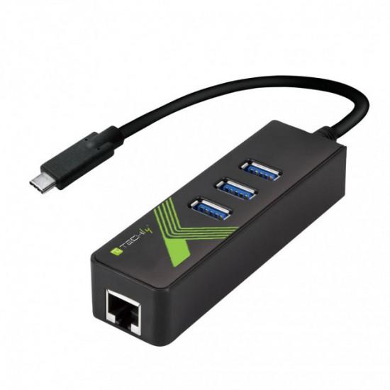 Adattatore Convertitore da USB-C™ a Ethernet Gigabit con Hub USB a 3 porte USB-A 3.0