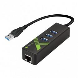 Adattatore Convertitore USB3.0 Ethernet Gigabit con Hub 3 porte