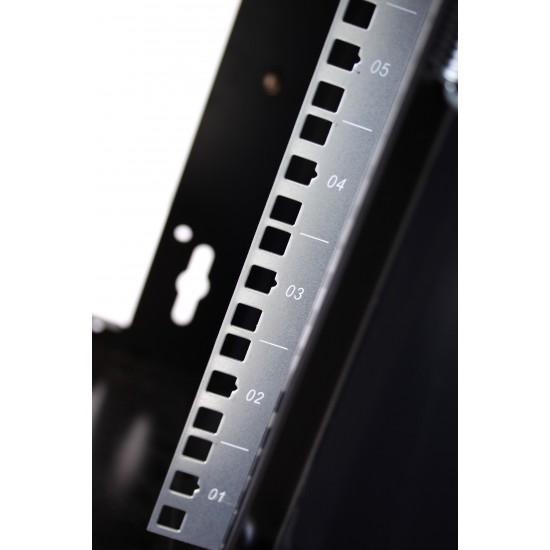 Armadio Rack da 10 pollici a muro per 6 unità con Porta Grigliata Nero