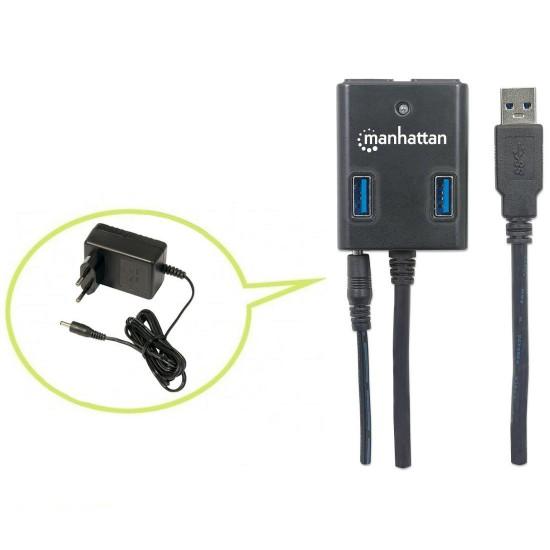 Hub USB 3.0 a 4 Porte con Alimentatore 5V 3A Nero