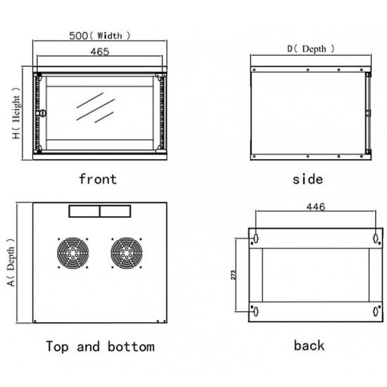 """Armadio Rack da 19"""" a Muro per 6U profondo 450mm Grigio Assemblato"""