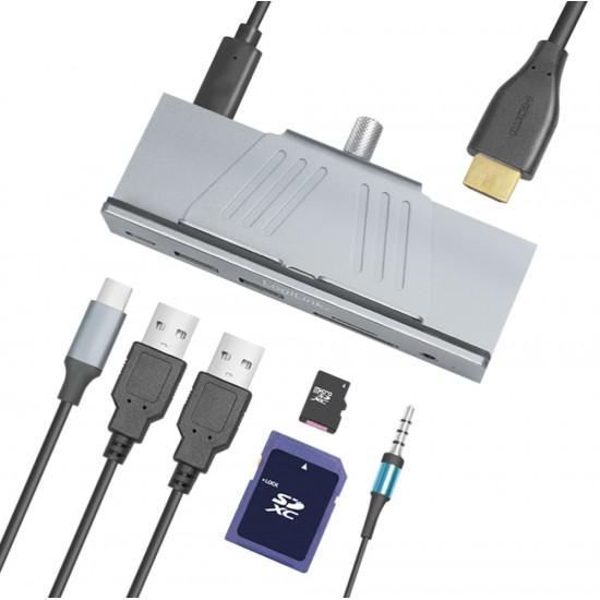 Hub USB-C™ 3.2 Gen 1 Multifunzione 7-in-1 in Alluminio con Morsetti