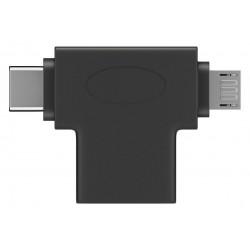 Adattatore a T da USB-A a Micro-B e USB-C™ Nero