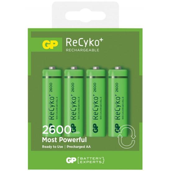 Confezione da 4 Batterie Ricaricabili AA Stilo 2600mAh GP ReCyko+