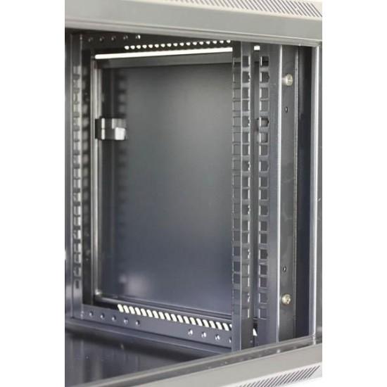 """Armadio Rack da 19"""" a muro 12 unità profondo 600mm Nero da Assemblare"""