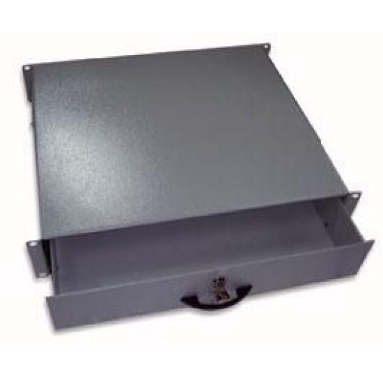 """Cassetto Porta Tastiera 2U per Armadi Rack da 19"""" con Serratura Nero"""