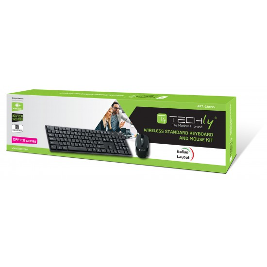 Kit Tastiera Standard e Mouse ottico Wireless 2.4GHz Nero