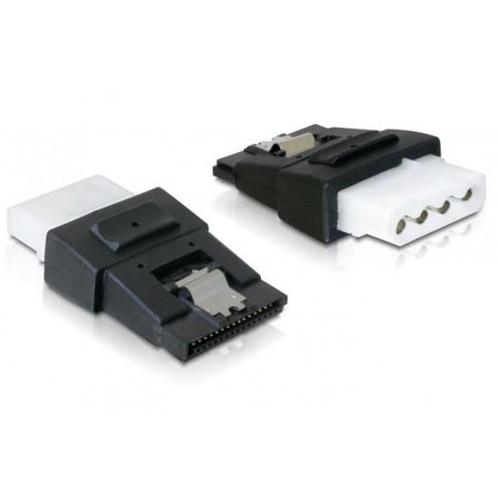 Adattatore per connessioni di alimentazione 4 pin Molex F a SATA 15 pin F con Clip