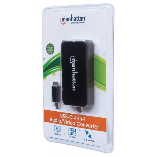 Adattatore multifunzione USB-C™ 4 in 1 a  DP/HDMI/DVI/VGA Nero