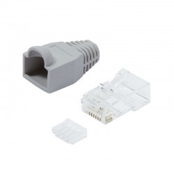 Category 6 RJ45 Plug and Connector Cover for Unshielded Cable 100pcs Grey