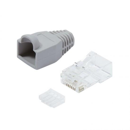 Plug Categoria 6 RJ45 e Copriconnettore per Cavo non Schermato 100pz Grigio