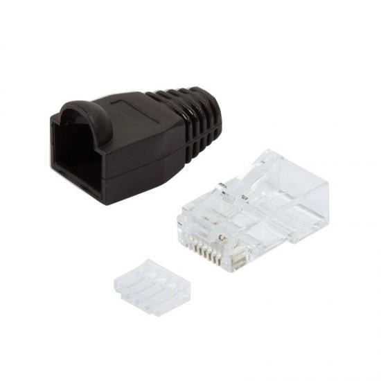 Plug Categoria 6 RJ45 e Copriconnettore per Cavo Non Schermato, 100pz Nero
