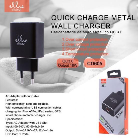 Carica batterie alimentatore USB compatibile QC 3.0