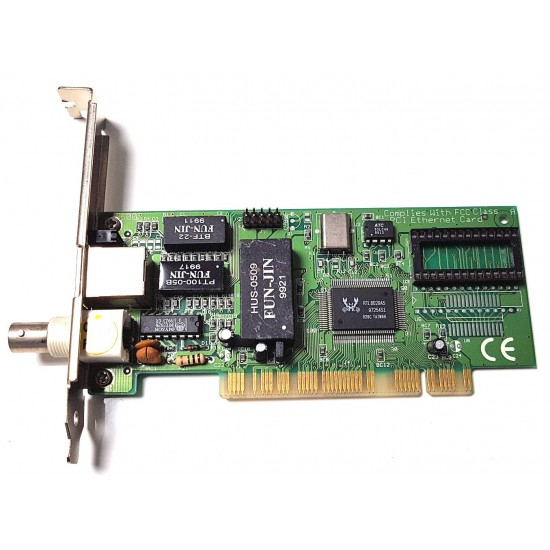 Scheda di rete Ethernet PCI da 10 Megabit/s con connettore RJ45 e BNC RTL8029AS